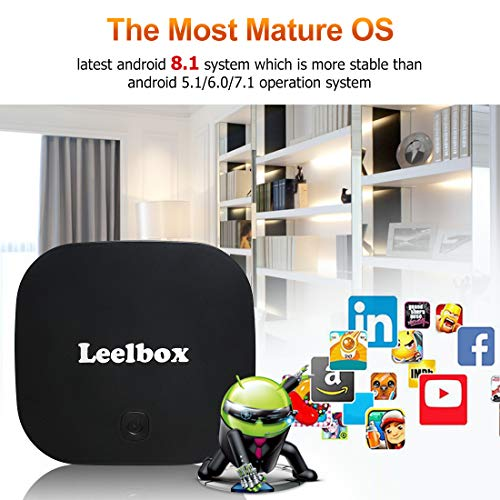 Leelbox Android 8.1 TV Box, Q2 Android Box Quad Core with 2GB RAM 16GB ROM, 2.4GHz Voice Remote Control Included, Support WiFi/3D/4K/H.265