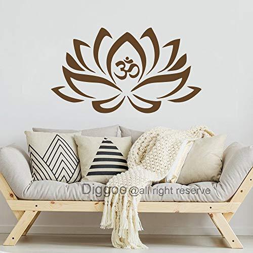 Lotus Flower With Om Sign Yoga Wall Decals Vinyl Mandala Flower Home Decor Art Vinyl Sticker (Dark brown,s) (Om Vinyl Wall Decal)