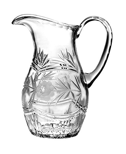 Crystal Jug - Barski - Hand Cut - Mouth Blown - Crystal Pitcher - with Handle - With Rose Design - 54 oz. - Made in Europe