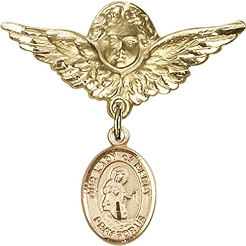 Gold Filled Baby Badge with Our Lady of Mercy Charm and Angel w/Wings Badge Pin 1 1/8 X 1 1/8 inches by Bonyak Jewelry Saint Medal Collection