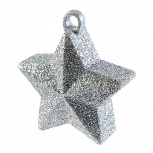 BALLOON WEIGHT GLITTER STAR SILVER 1 COUNT
