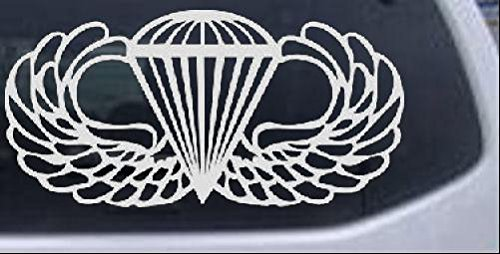 AIRBORNE Wings Military Car or Truck Window Laptop Decal Sticker -- White 6in X (Airborne Wings)