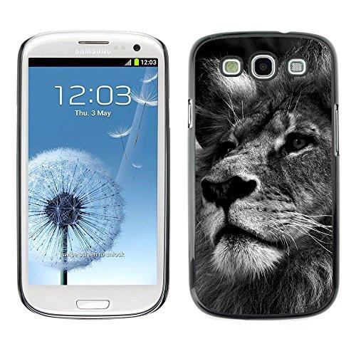 [Neutron-Star] Snap-on Series Coque de protection rigide Cas Case pour Samsung Galaxy S3 [Lion Noir Blanc Image Nature Big Cat]