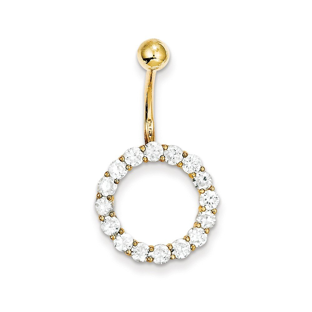 10k Yellow Gold Hinged Polished Open back Screw back With Cubic Zirconia Circle Of Life Tops Down Belly Ring Dangle