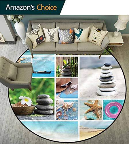 (RUGSMAT Spa Super Soft Circle Rugs for Girls,Tropical Ocean Rock Zen Pattern Floor Seat Pad Home Decorative Indoor Diameter-51)