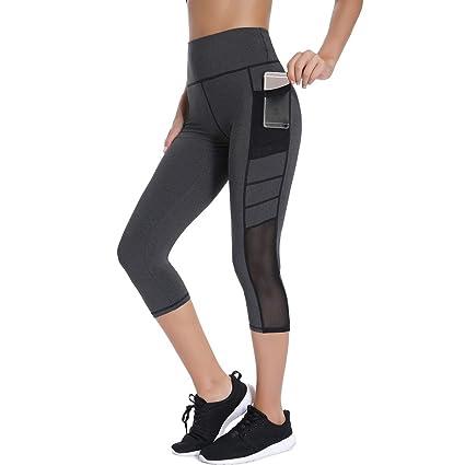 f51e7fbc3d2 Joyshaper Leggings de Mujer para Gym con Bolsillos Pantalones Mallas Capris  Piratas de Malla Señora Chica Elásticos Ajustados: Amazon.es: Ropa y  accesorios