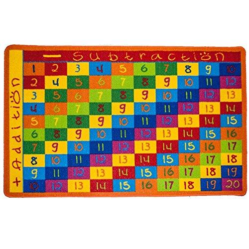 Kids Rug Addition Chart 5' X 7' Children Area Rug For