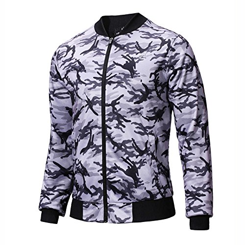SEVENWELL Men's Casual Zipper Bomber Jacket Coat Fashion Camo Printed Jackets Outerwear S-XL Camo Gray