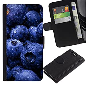 JackGot ( Frutta Mirtilli ) Sony Xperia Z3 Compact / Z3 Mini (Not Z3) la tarjeta de Crédito Slots PU Funda de cuero Monedero caso cubierta de piel