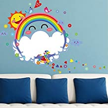Rainbow Photo Frames Sun Wall Sticker Decal Home Decor PVC Murals Wallpaper House Art Picture Living Room Adult Senior Teen Kids Baby Bedroom Decoration