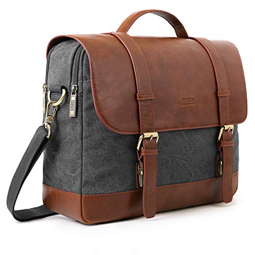 ECOSUSI Messenger Bag Vintage Briefcases for Men Waxed Canvas Computer Bags for Laptops 15.6 inch Water-resistant Satchel Bags for Men and Women, Grey