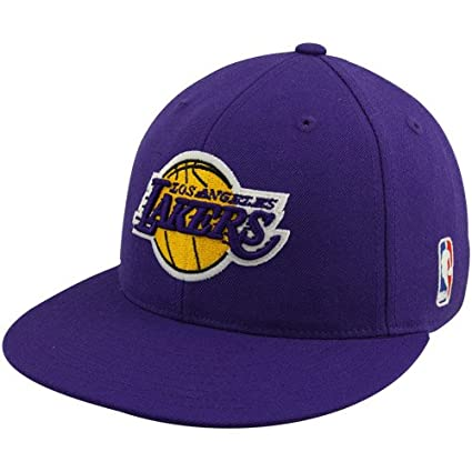 c724317719c Image Unavailable. Image not available for. Color  NBA adidas Los Angeles  Lakers Purple Flat Bill Fitted Hat ...