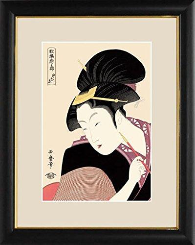 【大】浮世絵額-深く忍恋/喜多川 歌麿G4-BU023 B0734GZRF6