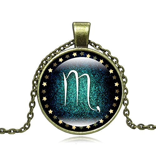 Zodiac Scorpio Horoscope Constellation Necklace Charm Symbol Pendant For Women Men Chain