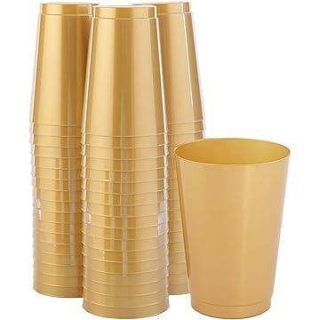 IOOOOO 100pcs Gold Plastic Cups 12 OZ, Solid Color Disposable Cups, Elegant Party Wedding Cups