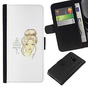 KingStore / Leather Etui en cuir / HTC One M7 / Retrato del diseño del arte del pelo Mujer;