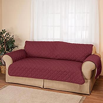 Deluxe Reversible Sofa Furniture Protector Burgundy Tan
