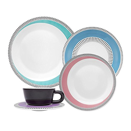 Oxford Bone China - Oxford 20 Piece Dots Collection Moon Dinnerware Set