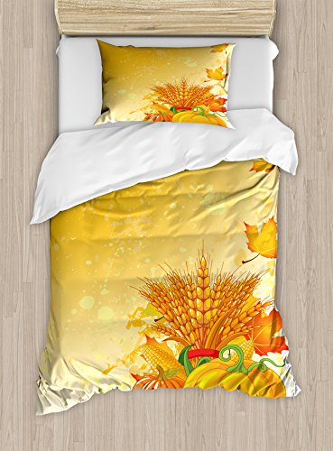Ambesonne Harvest Duvet Cover Set Twin Size, Vivid Group of Vegetables Plump Pumpkins Wheat Fall Leaves, Decorative 2 Piece Bedding Set with 1 Pillow Sham, Yellow Green
