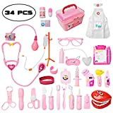 Toddler Doctor Kit with 34pcs Pretend Play Toys Dentist Medical Equipment Including Electronic Stethoscope and Dress Up Nurse Suit for Kids Girls Boys (Pink)