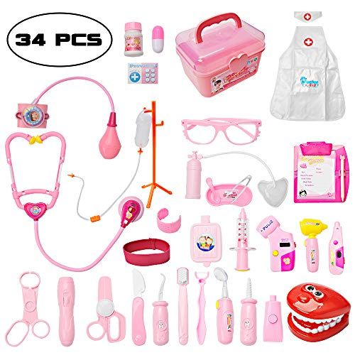 Toddler Doctor Kit with 34pcs Pretend Play Toys Dentist Medical Equipment Including Electronic Stethoscope and Dress Up Nurse Suit for Kids Girls Boys (Pink) by Mysterystone