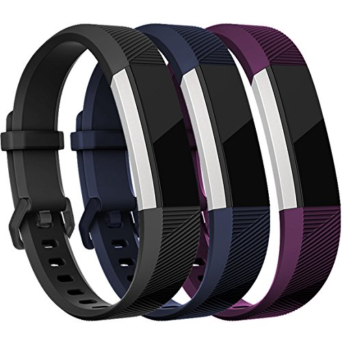 Maledan Replacement Accessories Bands (3 Pack) for Fitbit Alta and Alta HR with Stainless Steel Buckle
