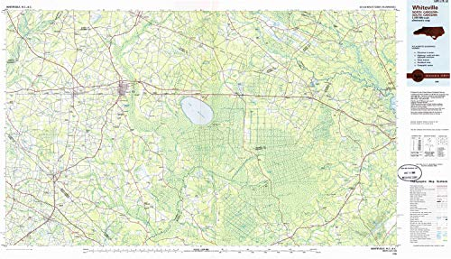- YellowMaps Whiteville NC topo map, 1:100000 Scale, 30 X 60 Minute, Historical, 1986, Updated 1986, 24.1 x 41.9 in - Paper
