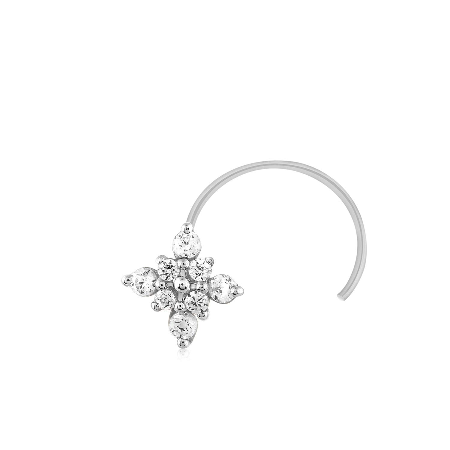 CARATS FOR YOU 0.08ct Round Shape Genuine Real Natural Diamond 10k White Gold Floral Nose Ring Stud Pin for women by CARATS FOR YOU