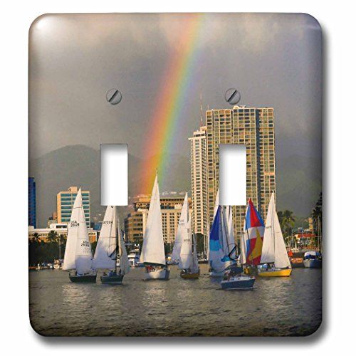 Danita Delimont - Hawaii - Friday night sailboat race, Waikiki, Honolulu, Hawaii - Light Switch Covers - double toggle switch - Honolulu Outlets