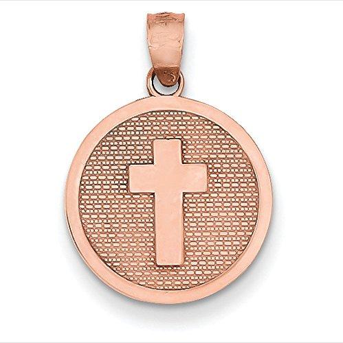 Or Rose 14carats réversible Croix et 1st Holy Communion Charme
