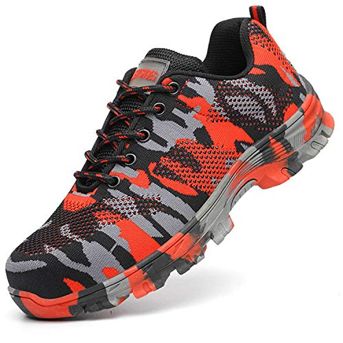 (SUADEX Steel Toe Shoes Men, Womens Work Safety Shoes Industrial Construction Sneakers, Outdoor Hiking Trekking Trail Composite Shoes Camouflage Red Size 11.5-12 Women / 10-10.5 Men)