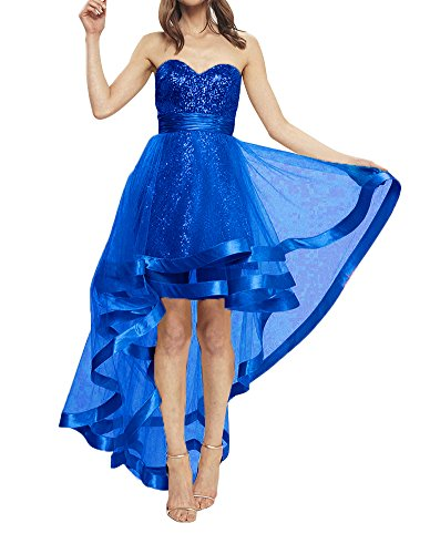Sequined High Low Homecoming Dress Strapless Sweetheart A-Line Prom Evening Gown