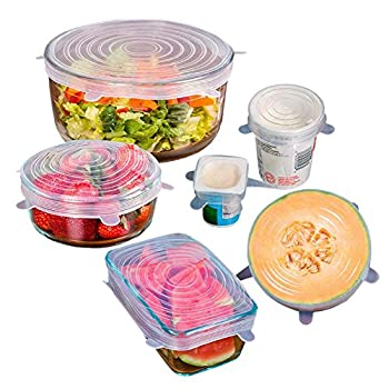 XY ZONE 6 Pack Silicone Stretch Lids, Reusable, Durable and Expandable to Fit Various Sizes and Shapes of Containers, Superior for Keeping Food Fresh, Dishwasher and Freezer Safe White