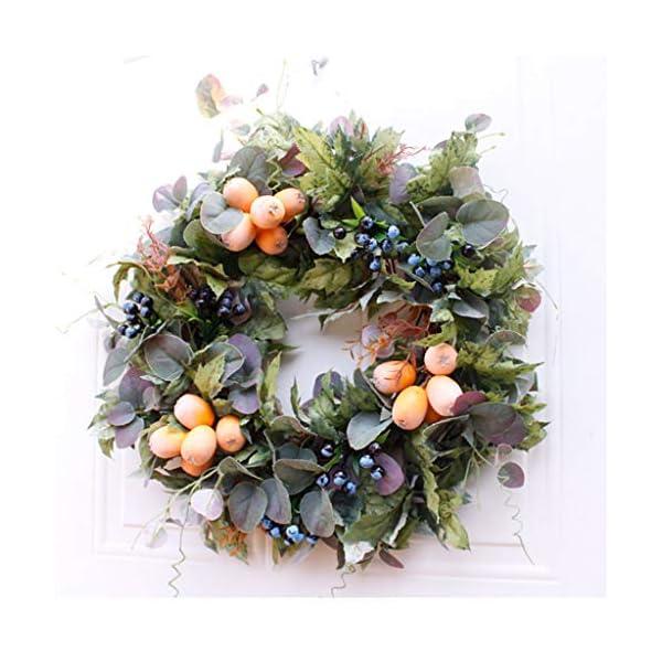 Artificial Autumn Fruit Wreath, 19″ Round Thanksgiving Fall Decorative Seasonal Boxwood Wreath for Front Door Indoor Wall Décor Front Door Wedding Window Wall Home Decor