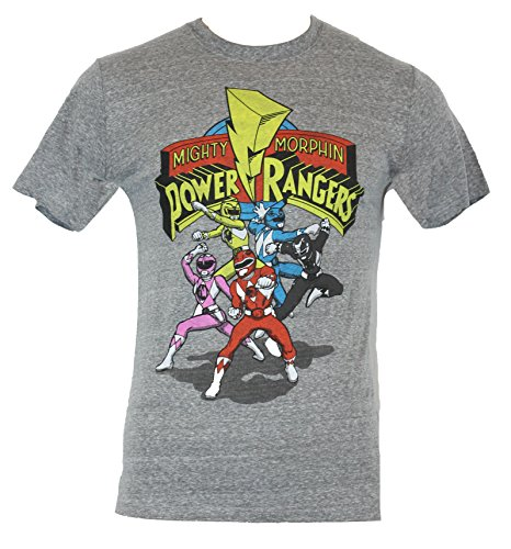 Mighty Morphin Power Ranger Mens T-Shirt - Cartoon Fight Poses Under Logo (XX-Large) Heather Gray (Mighty Morphin Power Rangers Logo)