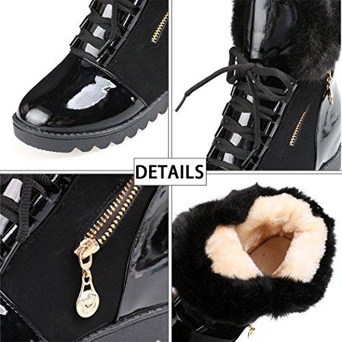 Minetom Mujer Otoño Invierno Calentar Mullido Botas Moda Charol Zapato De Plataforma Cordones Botas De Nieve Negro