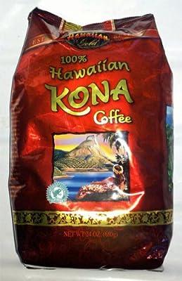 Hawaiian Kona Coffee 100% Whole Bean Coffee 24 Oz (Pack of 1)