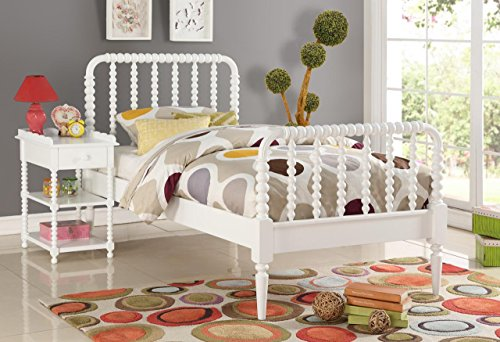 InRoom Furniture Designs White Finish Wood Jenny Lind Full Size Bed