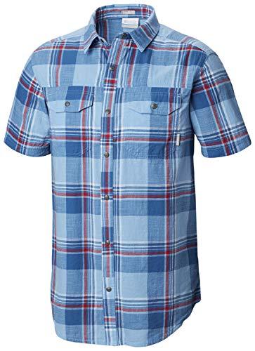 Columbia Men's Leadville Ridge Yarn Dye Short Sleeve Shirt, Impulse Blue Big Check XL