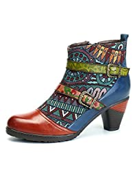 Socofy Block Heel Ankle Booties,Women's Bohemian Splicing Pattern Side Zipper High Block Heel Ankle Leather Boots