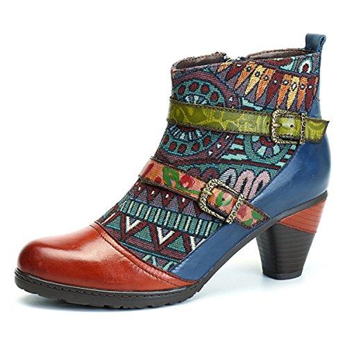 Zipper Women Boots - Socofy Block Heel Ankle Booties, Women's Bohemian Splicing Pattern Side Zipper High Block Heel Ankle Leather Boots Orange Red 8 B(M) US