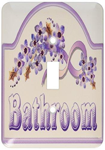 3dRose LLC LSP 37389_ 1Vintage violeta cuarto de baño Cartel solo interruptor de palanca