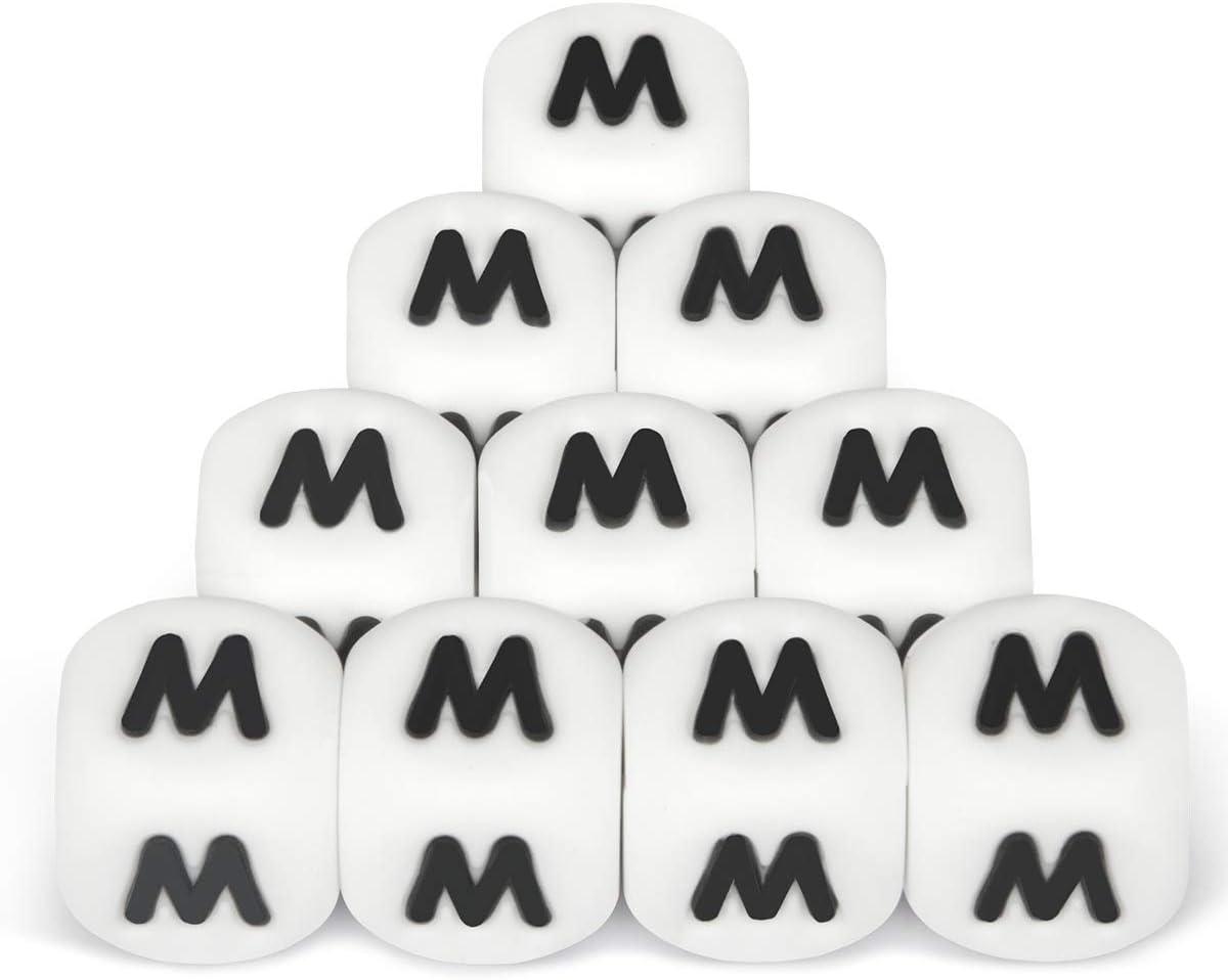 Silicona Letras Cuentas de Dentici/ón,10pcs English Alphabet 12mm Cube Haga su propio kit de bricolaje a granel Nombre personalizado Baby Teether Chew Beads Sin BPA
