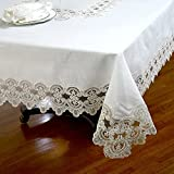 Roseberry Linen Wrinkle Free Lace Tablecloth, 52 by 70-Inch, Ivory