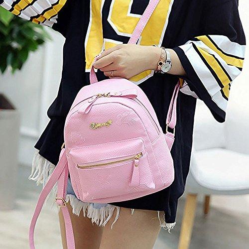 Niñas de rosa Bolsos Estudiantes Escolares Mujer ESAILQ Mochila Adolescentes para Cuero Mini 8AqfEPw