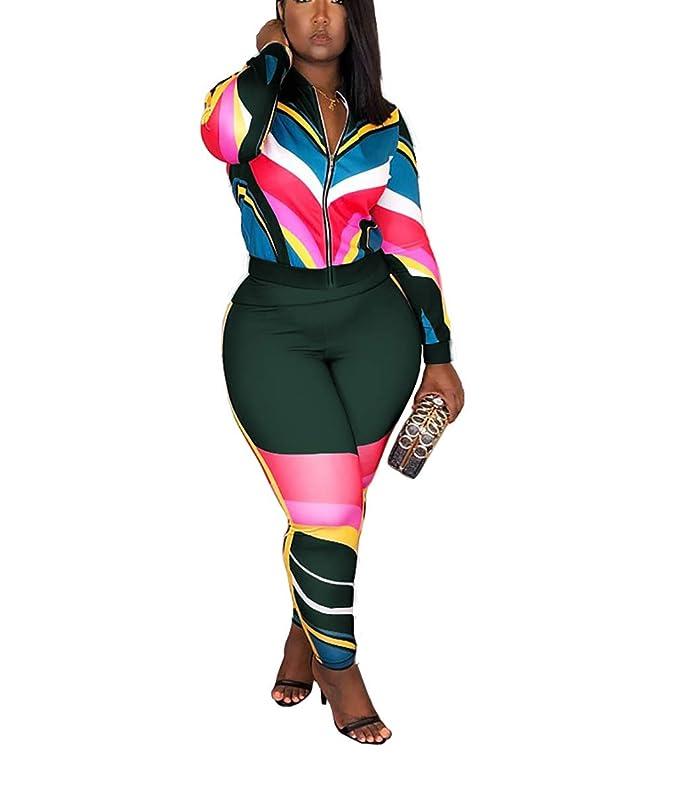 3f807ff81987 Amazon.com  Mycherish Two Piece Outfits for Women Sexy Long Sleeve Stripe  Print Front Zip Jacket Set Bodycon Long Pants Set Jumpsuits  Clothing