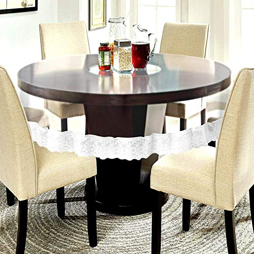 BLUE GRASS PVC Round Transparent Dining Table Cover with White Lace    60 Inches    4 Seater