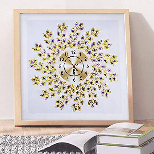 MSOO_Wall Stickers MSOO 5D Special Diamond-Shaped Embroidery Wall Clock DIY Painting Diamond Cross Stitc (A 35x35 cm)