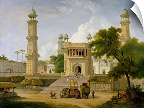 Canvas on Demand Thomas Daniell Wall Peel Wall Art Print entitled Indian Temple, said to be the Mosque of Abo-ul-Nabi, Muttra, 1827 24