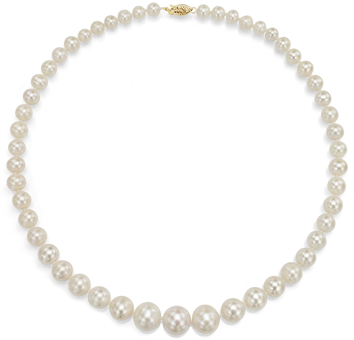 14K Yellow Gold White Cultured Freshwatwer Pearl Necklace Bridal Jewelry Graduated 6-11mm 18 inch